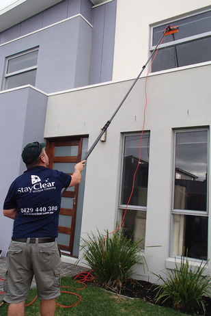 Window cleaning in Shoreham Vic with water fed pole